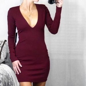 Lulu's Burgundy Wine Plunging V-Neck Mini Dress SM